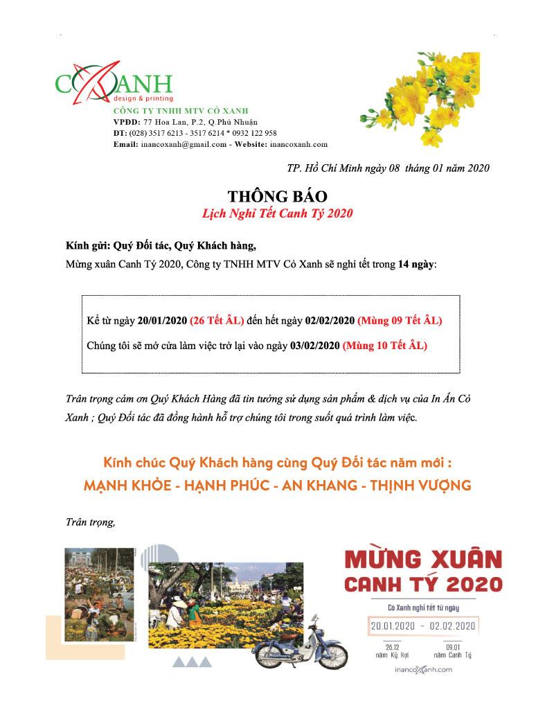 In Cỏ Xanh bắt đầu nghỉ tết Canh Tý 2020 từ 26 Tết ÂL